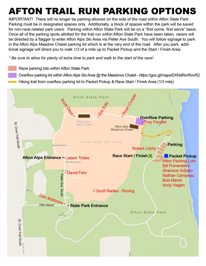 2016 Afton Trail Run Parking Map With Volunteer Locations