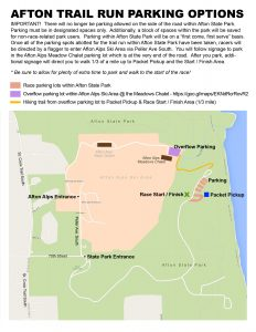 Afton Trail Run Parking Map
